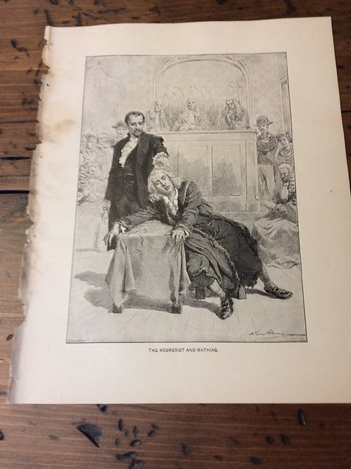 Antique Print,The Mesmerist and Mathias, Wood Engraving, The Bells Leopold Lewis