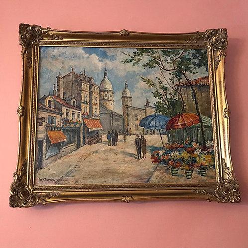 Oil Painting, Paris Market, Chappou, Impressionist Art