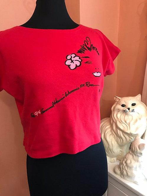 Vintage Tshirt, 80s T-shirt, Cropped Tee, Hawaiian Womens 10K 1986, Sexy, Tropic