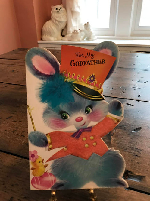 Vintage Card, Cute Bunny, Easter Card, Godfather, Bunny Band Leader