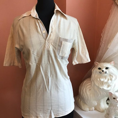 Vintage Polo, 60s, 70s, B Altman, Made in Italy, Beige Polo, Leisure, Disco