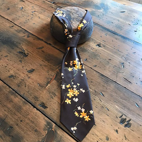 70s Necktie, Orange Flowers, Brown And Orange Floral Tie, Custom Tailored FOTL
