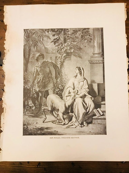 Antique Print, Vintage,  The Bride of Messina, Don Manuel Discovers Beatrice