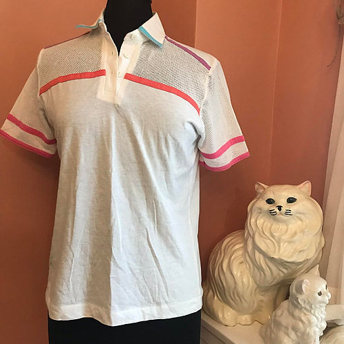 Cute Sporty Pink, White Tennis Top, Vintage Tennis Shirt, Mesh Details