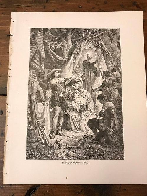 Antique Print, Typogravure, Prince Ottocar and Max, Weber's Der Freischutz