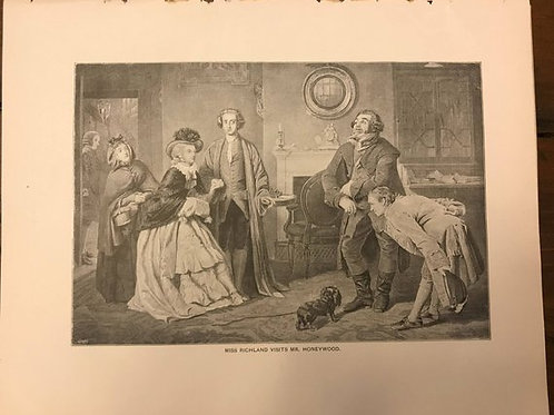 Antique Print, Victorian Parlor Scene, Miss Richland visits Mr Honeywood