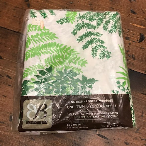 Sealed, Vintage Twin Flat Sheet, 1960s / 1970s, Green and White, Ferns Tropical