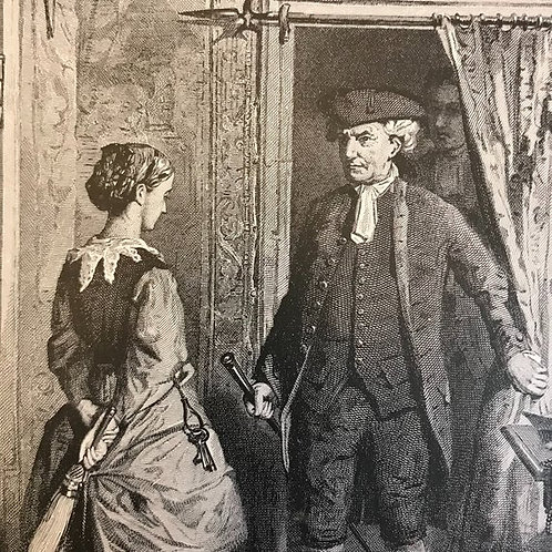 Antique Print, Litho,Wood Engraving, Mr. Oldbuck and Jenny, Maids
