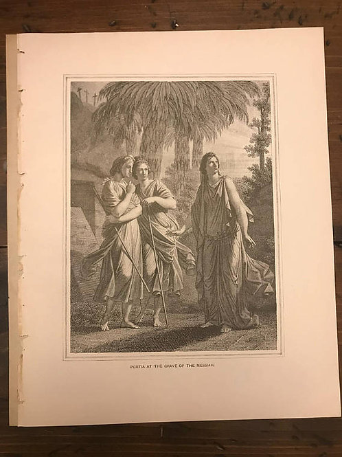 Antique Print, Litho, Portia at the Grave of The Messiah