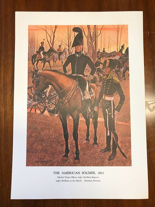 Vintage Print, Military Art, 1966, The American Soldier,1812