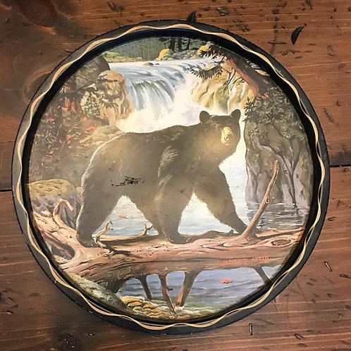 Vintage Tray, 70s, American Black Bear, Tin Lithograph, James L. Artig Art