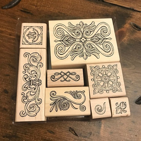 Rubber Stamps, Set of Decorative Boarder Stamps, Scrap Booking Junk Journal