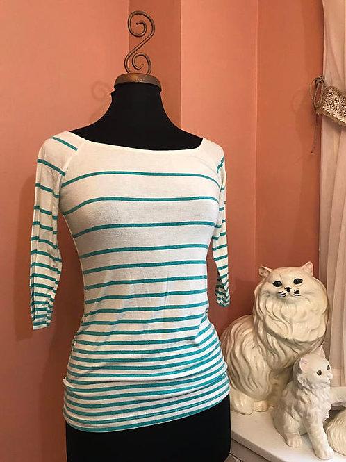 Vintage 80s Shirt, Scoop Neck Top, Forever 21, Teal Stripe Shirt