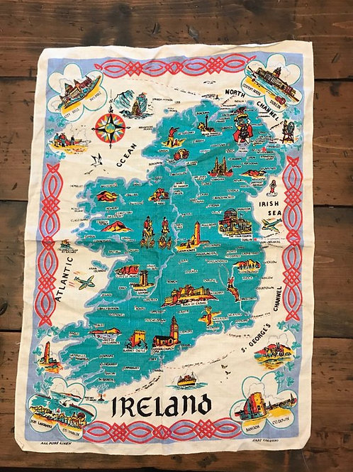 Vintage Kitchen Towel, Ireland Map, Linen Towel, Ireland Lanmarks, Folkart