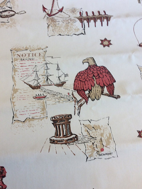 Vintage 60s Wallpaper, Nautical Wallpaper, Country Store, Americana