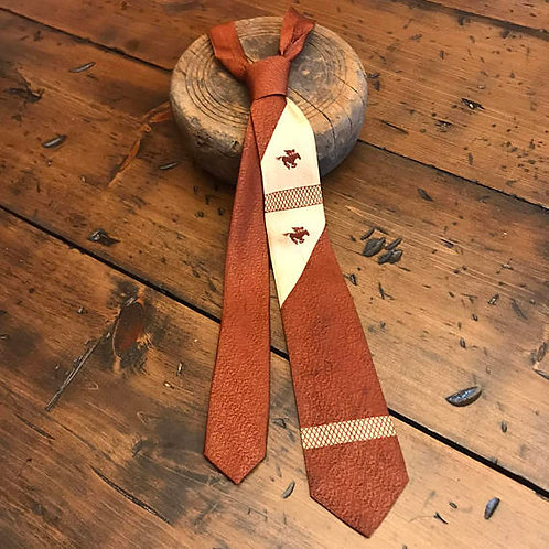 Vintage Necktie, 1950s Skinny Cowboy Tie. Brown & Beige