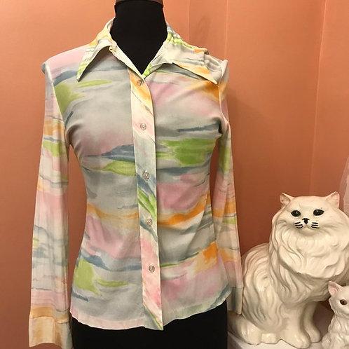 Vintage Shirt, 70s Abstract Print, Vintage Blouse, Pastel Colors, 70s Blouse