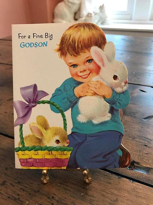 Vintage Card, Cute Boy, Easter Card, Godson, Easter Basket, Easter Bunny