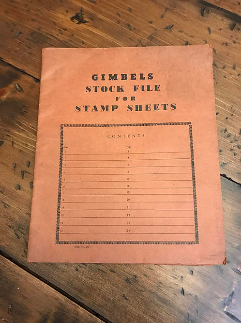 Vintage Stamp Collection, Stamp Sheets, Gimbels Stock File, Glassine Stamp Book