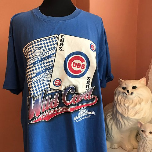 Vintage Tshirt, 90s T-Shirt, MLB, Chicago Cubs Wildcard, World Series