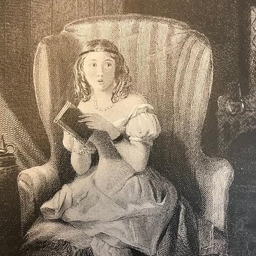 Antique Print, Litho, Wood Engraving, Jane Austen, Northanger Abbey, Art Print,