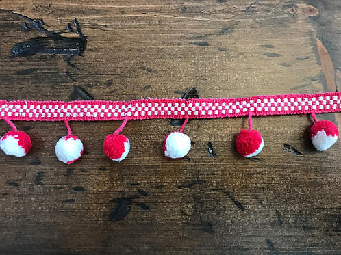 Vintage PomPom Trim, Red and White 1960s