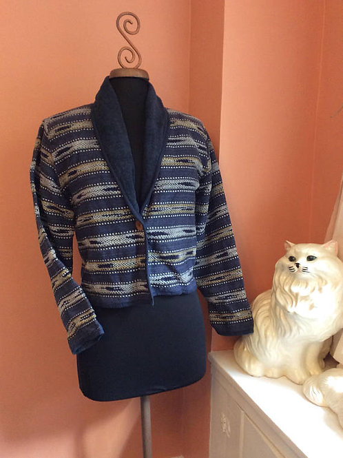 Vintage 80s, Bolero, Blazer, Cropped, Jacket, Striped Blue, Grunge Jacket