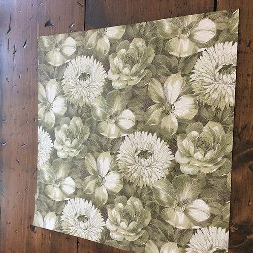 "Vintage 1977 Wallpaper Sample - 14""x15"" - White & Green, Flowers -Remnant"