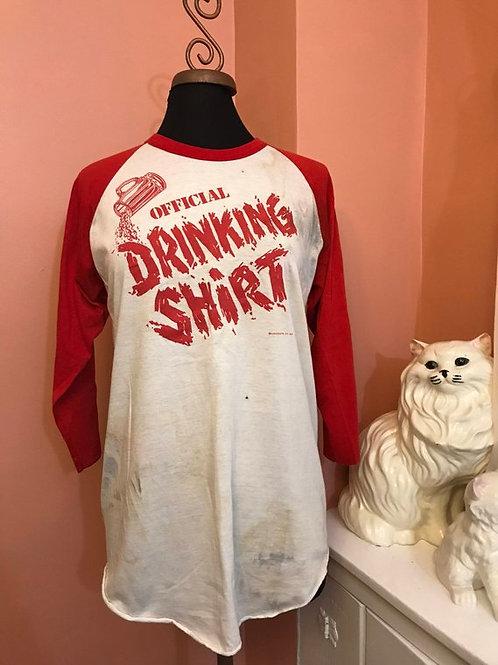 Vintage Tshirt, 80s Tshirt, 80s Ringer, Baseball Tee, Drinking Shirt, Party