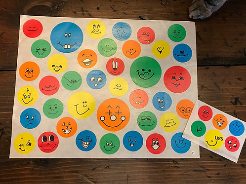 Smiley Face Stickers,1984 Highlights,Vintage Highlights Magazine, 40+ Emoji