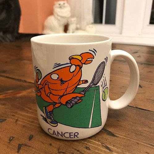 Vintage 80s Mug, Zodiac Coffee Cup, Cancer, Crab Tennis Player, Horoscope Mug