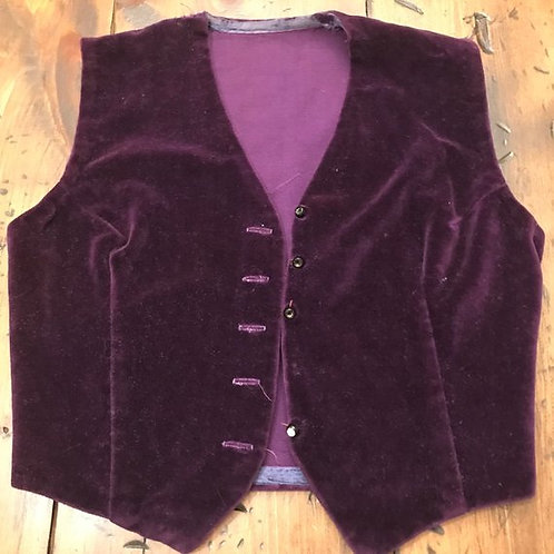 Vintage Vest, Purple Velvet Vest, Steampunk, Costume Part, Gypsy Costume, Hobo