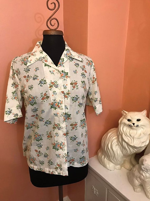Vintage 70s, Floral Cotton, Nerdy Short Sleeve Button Blouse, Orange Blue Flower