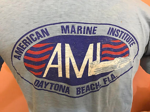 Vintage 80s T-Shirt, American Marine Institute, Daytona Beach, Grunge, College