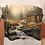 Thumbnail: Log Cabin Tshirt, Ladies Log Cabin, Grizzly Bear Shirt, Wilderness Painting, M