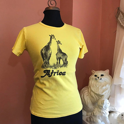 Vintage Tshirt, Africa, Giraffes, Sexy Africa Shirt, Yellow Babydoll Shirt