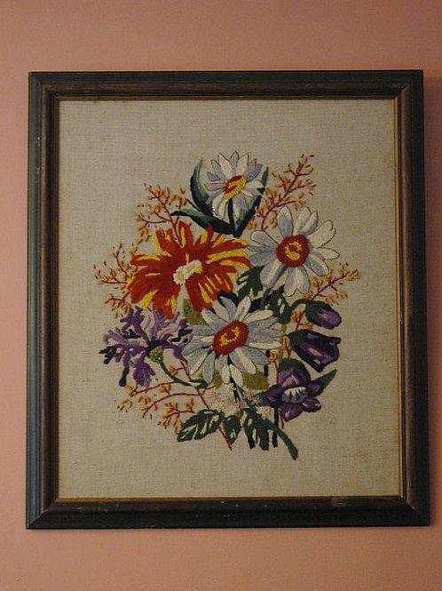 Vintage 70s, Flower Art, Crewel Art, Wild Flower Bouquet, Country Art