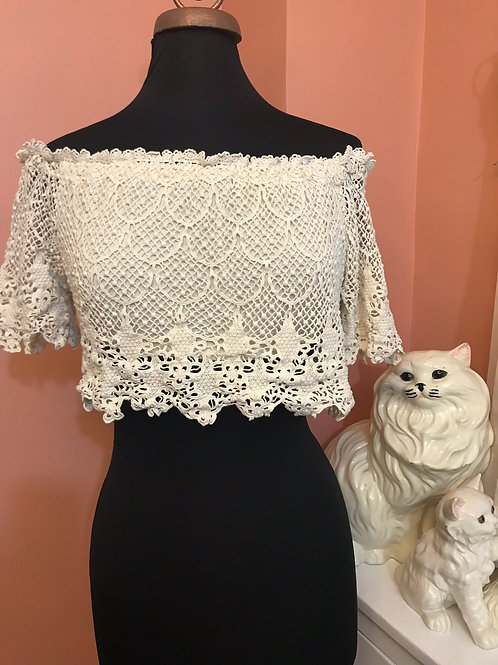 Sexy Crop Top, Crochet Top, Bohemian, Hippie Shirt, Beach, Coverup, Victorian