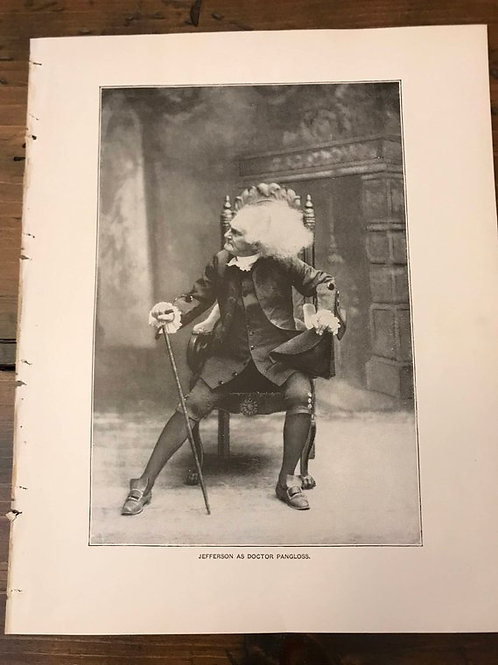 Antique Print, Actor Joseph Jefferson, Dr. Pangloss, Heir at Law
