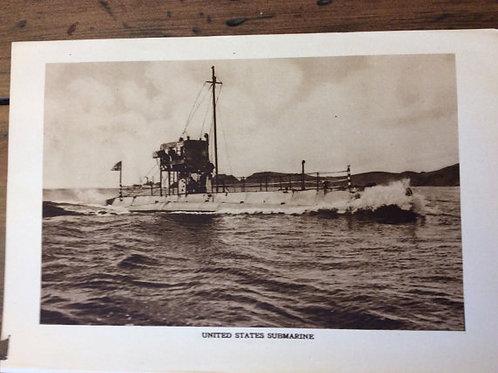 Antique Print, WWI Print, Vintage Print - Crew of US K-5 Submarine Torpedo