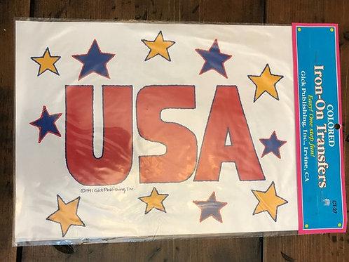 Vintage Iron-On Transfer, USA Fabric Transfer, Patriotic Shirt, Stars Shirt