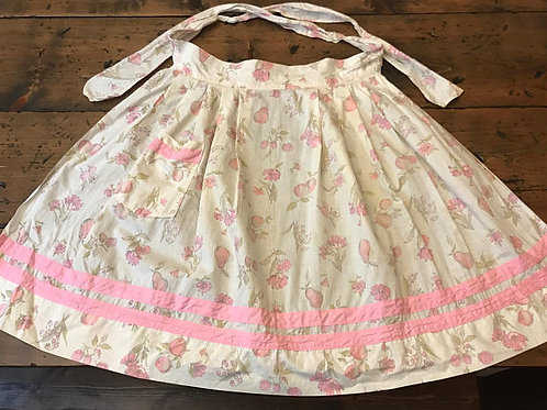 60s Apron, Pink Half Apron, White Pinstriped, Flowers, Pears