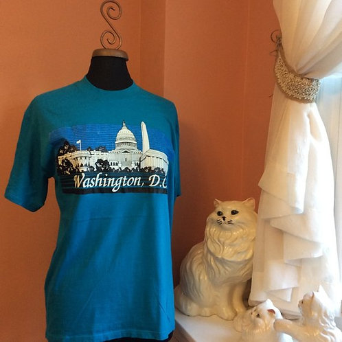 Vintage Tshirt, 80s T-shirt, Washington DC, Tourist, City Skyline, Capitol Build