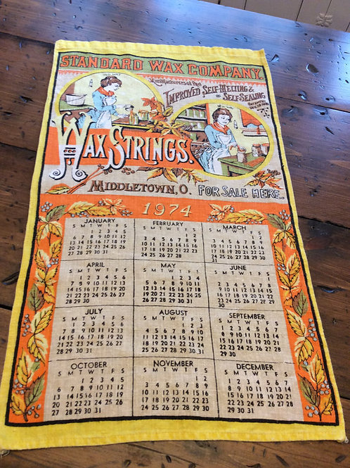 Vintage 1974 - Linen Calender - Vintage Advertisement Standard Wax Company