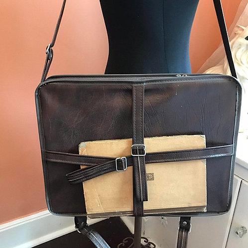 Vintage Art Case, Art Supply Storage, Vinyl Messenger Bag, Wood Tray, Paints