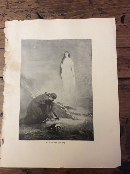 Antique Print, Lithograph, Byron's Manfred, Ghsotly Image