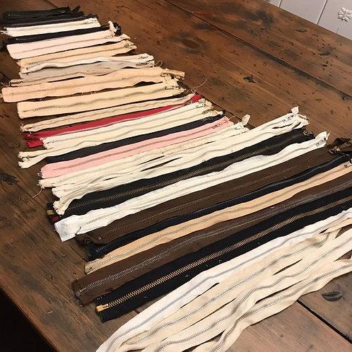 Vintage Zipper Lot, Talon Zippers, 50s / 60s Zipper Salvage, Assemblage Art