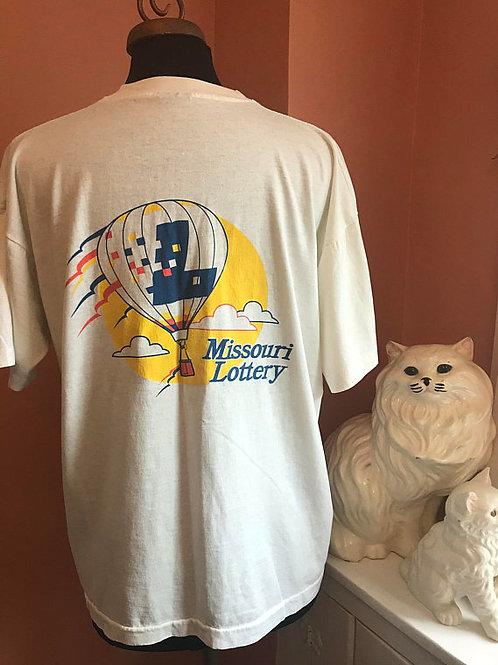 Vintage 90s Tshirt, Vintage Tshirt, Missouri Lottery, Hot Air Balloon