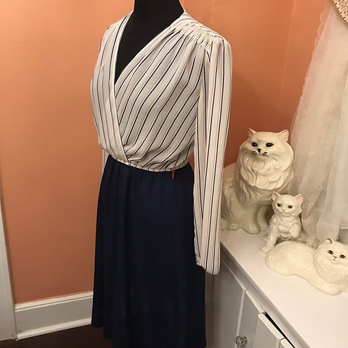 Vintage 80s Dress, Sexy Secretary, Red White and Blue, Pinstripes, Chiffon