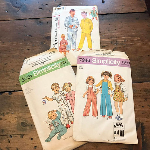 Vintage Children's Sewing Patterns, Toddler, Child, Pajamas, Coveralls